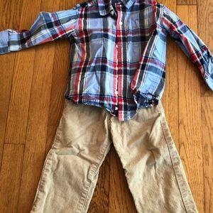 Plaid shirt + tan pants